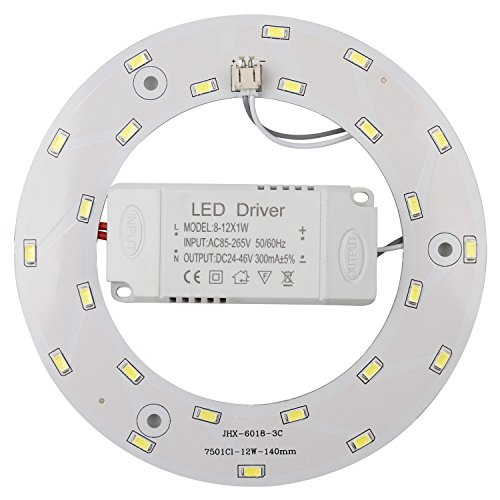 Ledytech 12w 5730 SMD Led Panel Ceiling Light Fixtures Circle Annular Round Replacement Board Bulb (Warmwhite 3000-3500k)