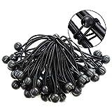 Yontree 30 Stück Ballspanngurt elastisch Zeltseil Trampolin für Planenhalter Bungee-Seil Baldachin Plane Banner Pavillons schwarz