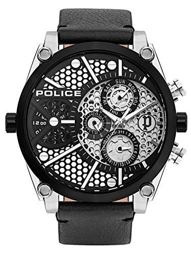 Police Unisex Erwachsene Analog Quarz Uhr mit Leder Armband PL15381JSTB.04A