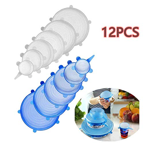 FLAIGO 12 tapas de silicona, fundas de silicona para alimentos, reutilizables, tapas elásticas para ahorro de alimentos, tapas elásticas en varios tamaños para cuencos, tazas, frutas, latas