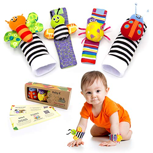 BABY K Foot Finder Socks & Wrist Rattles (4 Pieces) - Newborn Toys for Baby Boy or Girl - Brain Development Infant Toys - Hand and Foot Rattles Suitable for 0-3, 3-6, 6-12 Months Babies