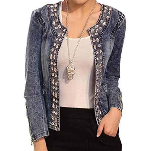Donna Manica Lunga Giacca in Jeans Classico Casual Denim Jacket Vintage Slim Giacche Corti Giubbotto Capispalla per Autunno Primavera