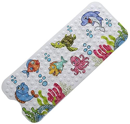 Bencas rutschfeste Kinder Badewannenmatte - Schimmelresistent Antirutschmatte mit Motiven - Extra Lange Duschmatte für Badewannen 100 x 40 cm