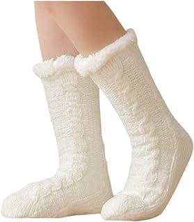 Calcetines para mujer con forro polar, cálidos calcetines térmicos, suaves y gruesos, antideslizantes, para invierno, nieve, calcetines de punto, color blanco