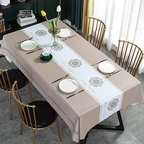 LIUJIU Tovaglia rettangolare in PVC, per cucina, tavolo da pranzo, in plastica, per interni ed esterni, 120 x 160 cm (bordo dritto)