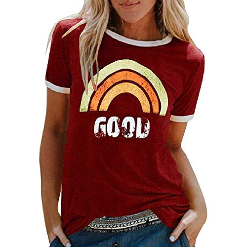 Sommer Damen T-Shirt Kurzarm Lose Regenbogen Print Brief Casual Tops Laufen Sport T-Shirts Damen Plus Size Beach Tops