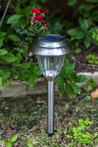 Grant Park 8-Pack Brushed Silver Stainless Steel Bright LED Solar Lights for Outdoor Landscape Yard Pathway Garden Lighting