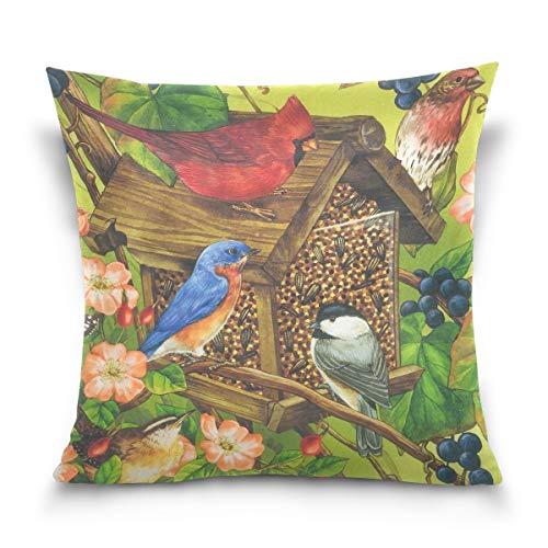 FULUHUAPIN Fundas de cojín de lana de algodón con diseño de mariposa, diseño de pájaro, 40,6 x 40,6 cm 2030378