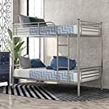 Steel Bunk Bed Twin Over Twin,JULYFOX Modern Metal Steel Bed Frame 550 lb Heavy Duty W/ Stairs Side Guard Rails 10.8 inch Storage No Box Spring Needed 2 Twin Bed Platform for Kids Teens Adults Silver