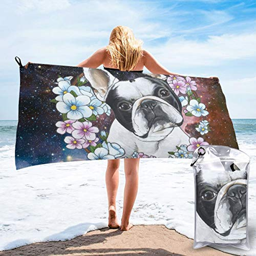 SHATANG Quick Dry Beach Towel Frenchie French Bulldog Microfiber Sports Pool Lightweight Thin Towels for Women Men