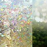 Película de Vidrio de privacidad Opaca de Arco Iris 3D Etiqueta de Vidrio autoadhesiva electrostática película de decoración de Puertas y Ventanas para el hogar G 40x100cm
