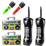 WATINC 6Pcs Inflatable Boom Box Radio Mobile Phone Microphones for 80's 90's Rock Star Party Decoration Set, Rock and Roll Party Favors Supplies , Inflatable Photo Props for Birthday Party