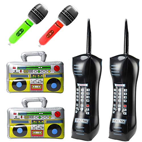 WATINC 6Pcs Inflatable Boom Box Radio Mobile Phone Microphones for 80's 90
