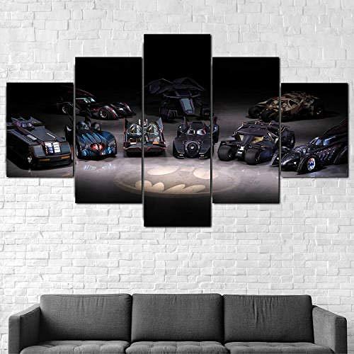 YFTNIPL Cuadro En Lienzo 5 Piezas XXL Decoracion De Pared Diseño Batimóvil De Batman Cars Collection De 5 Piezas Material Tejido No Tejido Impresión Artística Gráfica Decoracion De Pared