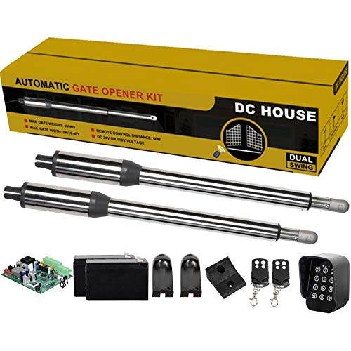 DC HOUSE Heavy Duty Automatic Gate Opener Kit with Wireless Keypad Complete Kit Dual Swing Gate Openers for Home Security/Farm/Garage/Business,Up to 16.4 Feet or 850 Pounds(Batteries Included)
