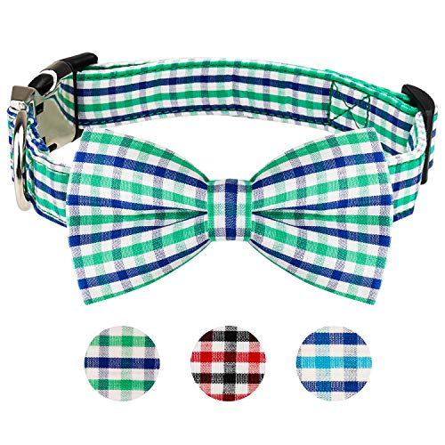 Dog Bow Tie, HAOPINSH Bow Tie Collar for Dogs Buckle Light Dog Plaid Bow tie Collar for Dogs Cats Pets Soft Comfortable,Adjustable Large Green