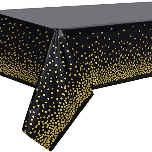 2 Stück Schwarz und Gold Party Tischdecke Einweg für Rechteck Tisch, Gold Dot Confetti Geburtstag Tischdecke für Geburtstag, Jahrestag, Braut Shower, Abschlussfeier, Cocktail Party, 137cm x 274cm