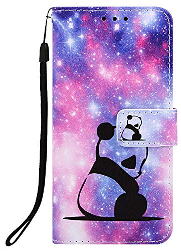 NVWA Compatible with LG Stylo 4 Case, LG Q Stylus Case PU Leather Wallet Phone Case [ Kickstand Wrist Strap ][ Credit Card Slot ] Magnetic Closure Stand Flip Full Body Protective Cover (Panda Baby)