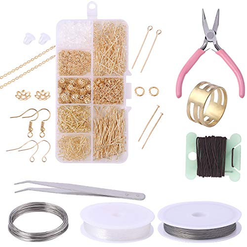 TURMIN 897 Pieces Earring Making Kit, Gold Earring Making Supplies with Earring Hooks, Jump Rings, Tweezer, Plier for DIY Earring Necklaces Bracelets Jewelry Making and Repair