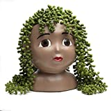 Head Planter Pot with Drainage Hole - Face Planters for Indoor and Outdoor Plants – Unique Garden Planters – Resin Face Planter for Succulents – Brown Eyes Female Head Planter, Unusual Pots for Plants