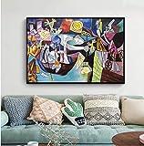 SXXRZA Arte de Lienzo 70x90cm sin Marco Pintura Famosa de Picasso Pesca Nocturna en Antibes Cuadros artísticos de Pared para decoración de Sala de...