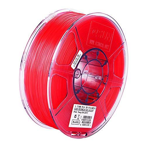 PLA-Filament 1,75mm, 3D-Druckerfilament 1kg (2.2lb), für 3D-Drucker und 3D-Stifte, Dimensionsgenauigkeit +/- 0,03 mm-Transparentes rot