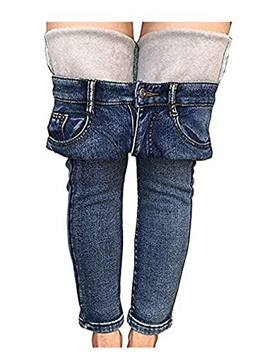HEZIOWYUN Women's Fleece Lined Jeans Stretchy Skinny Denim Pants Winter Thick Jeggings Slim Fit Jeans with Pockets (A-Light Blue, 31)