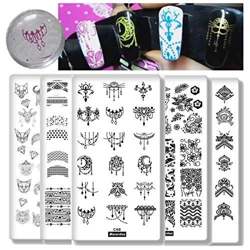 Geometric Texture Nail Plates Template 10Pcs Tassel Feather Animal Nail Image Plate French Style Nail Art Stamping Plates Collection Dream Datcher Flower Star Butterfly Manicure Print Tool