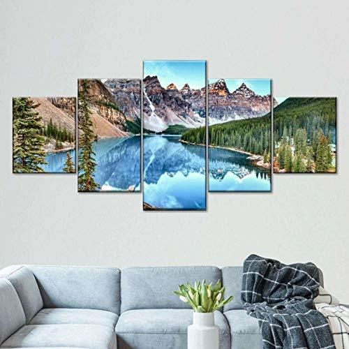 5 Piezas Cuadro Lago Moraine En El Parque Nacional Banff 5 Piezas Impresión En Lienzo Tablero del Moderno Cuadro De Pintura Póster De Arte Sala De Decoración Hogareña