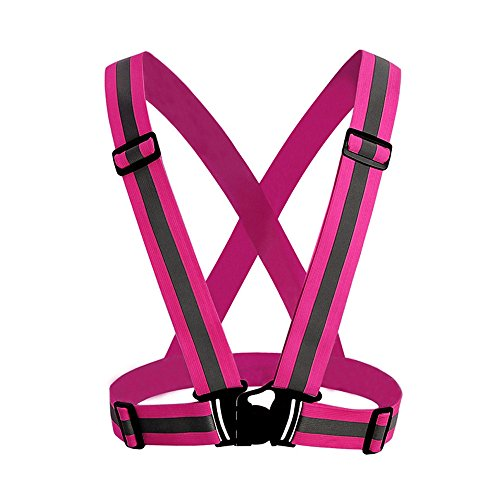 XGao Reflective Vest Safety Belt 360° High Visibility Waist Bands Running Gear for Men and Women Adjustable Reflectors for Night Runners Marathon Cycling Walking Hiking Strips Glow Band (Pink)