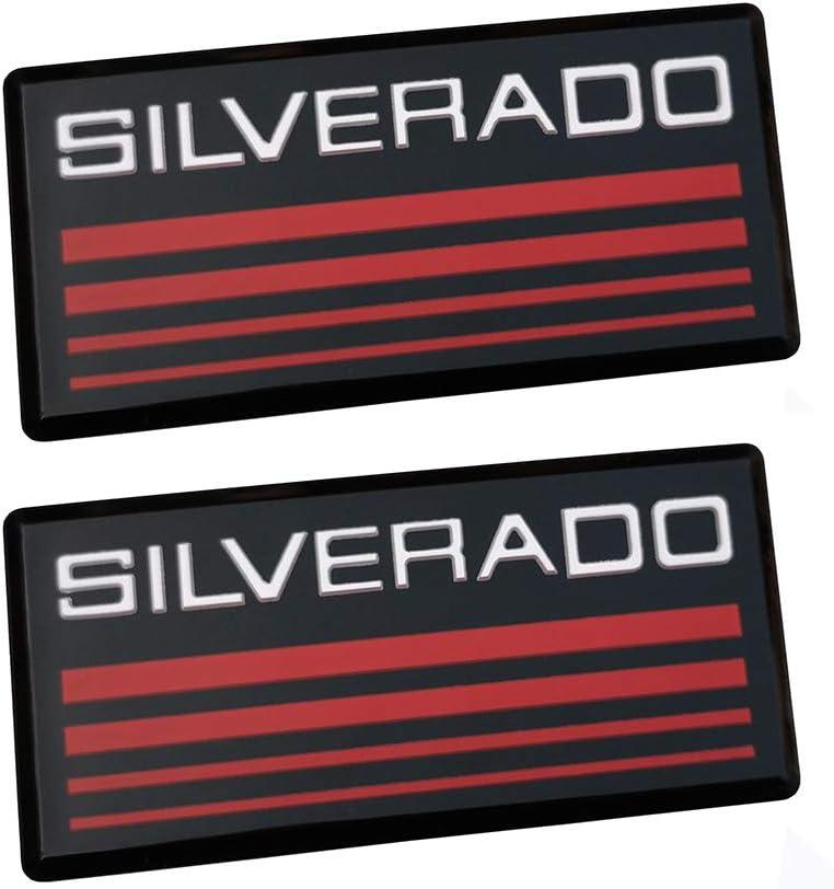 Black-red 2Pcs SILVERADO Cab Emblem Badge//Side Roof Pillar Decal Plate Replacement for Chevy Silverado 88-98 90 91 Suburban Tahoe C//K Series Blazer