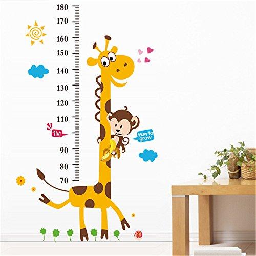 Rainbow Fox Animal de Bande Dessinée Grand Arbre Toise Stickers Muraux, Owl, Girafe, Lion et Monkey, la Chambre des Enfants Pépinière Autocollants Amovibles (Girafe Tree)