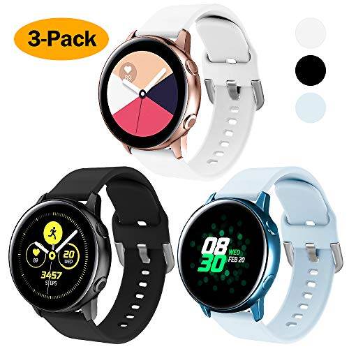 XIMU Silikon Armband Kompatibel mit Samsung Galaxy Watch 3 41mm Armband/Active 40mm Armband/Active 2 Armband/Galaxy Watch 42mm Armband, weiche Silikon Sport Bügel Frauen Männer für Galaxy Watch
