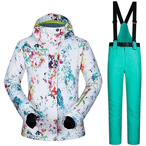 Haodene Chaqueta De Esquí Mujer - Traje De Esquí De Impermeable, Cálido Ski Jacket Mujer A Prueba De Viento, Women Snow Jacket Top + Pants, Adecuado para Deportes De Invierno Al Aire Libre, S - XL
