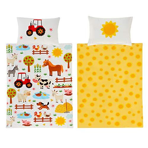 Kinderbettwäsche 100 x 135 Bauernhof Tiere Junge Mädchen Baumwolle - Kinder-Baby-Bettwäsche-Set Tier-Motiv-e - YKK Reißverschluss - gelb, weiß & bunt - mit Traktor, Sonne, Pferd, Hund, Katze & Schaf