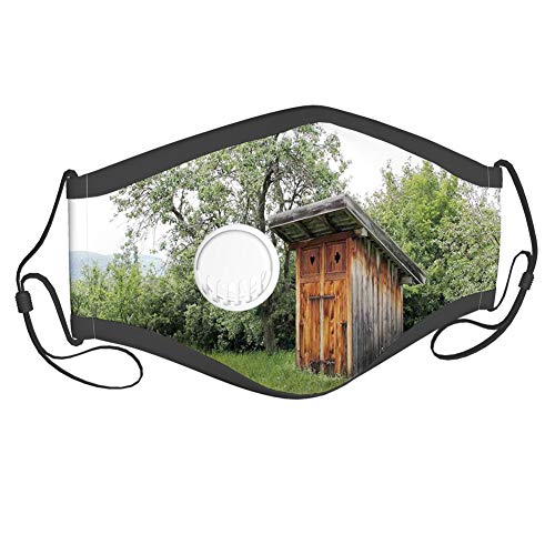 Fillter Cloth For Adults and kids,Wooden Little Hut Barn Shed Cottage in Nature Forest Image,Reusable Windproof Cloth Half Face Double Protection,6 filters adults