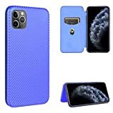 Miagon iPhone 11 Pro Carbon Fiber Wallet Case,PU Leather Flip Magnetic Slim Phone Case with Card Holder Silicone Inner Shockproof Folio Cover for iPhone 11 Pro