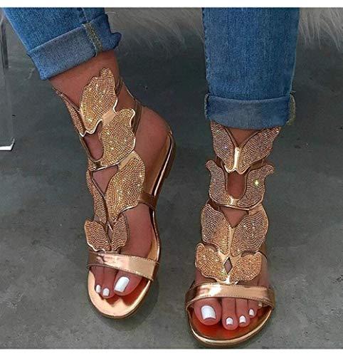 JFFFFWI Sandalias Mujer Piel sintética Peep Toe Cuñas Chanclas Recortadas con Diamantes de imitación Mariposa Informal Zapatos al Aire Libre para el hogar Sandalias, Dorado, 35