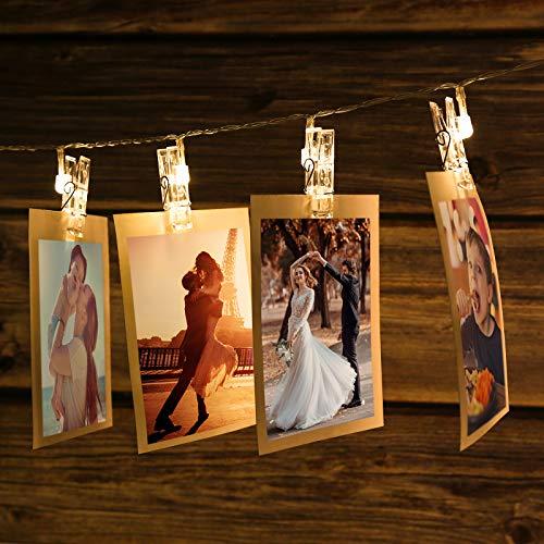 Lichterkette Fotoclips 2.2M LED Fotolichterkette mit 20 Klammern batteriebetriebene Fotowand für Zimmer Deko Geburtstag Weihnachten Hochzeit Party