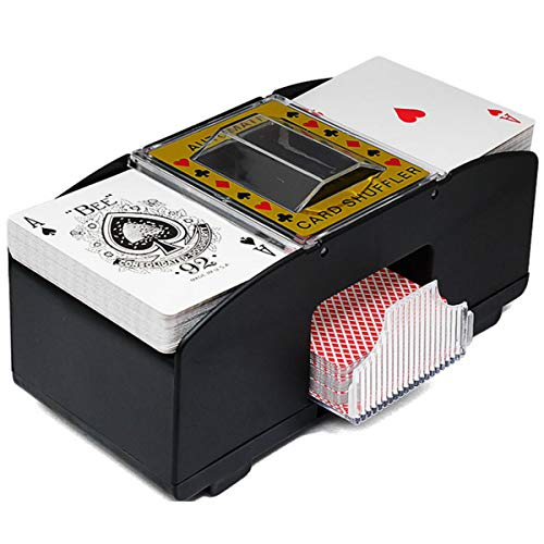 Tianhaik Auto Playing Card Shuffler, Battery Operated 2 Deck Electric Shuffling Machine Casino Dealer Travel Machine Dispenser by Trademark Poker for Home Party Club