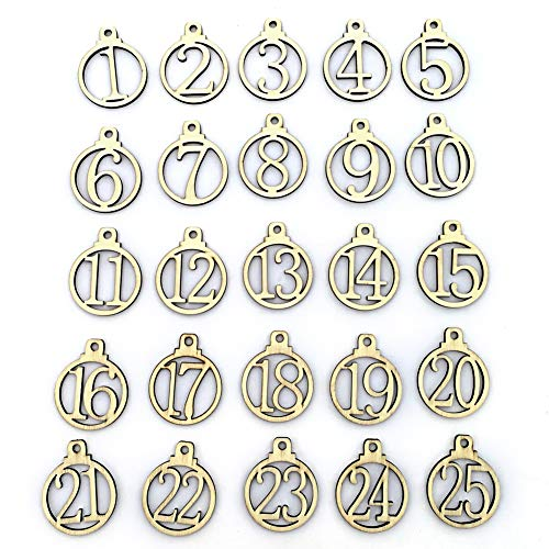 1-25 Wooden Numbers Gift Tags Wedding Party Decoration Gift Box Christmas Ornaments, 25 Pcs