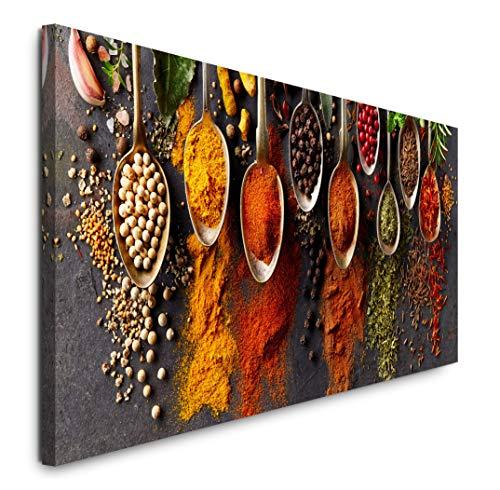 Paul Sinus Art GmbH Gewürze in Löffeln 120x 50cm Panorama Leinwand Bild XXL Format Wandbilder Wohnzimmer Wohnung Deko Kunstdrucke