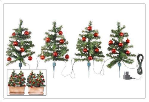 Spetebo 4er Set Weihnachtsbäume je 45cm mit Kugeln und Lichterkette - Ideale Deko für Innen und Außen