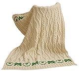 100% Merino Wool - Baby Blanket Kid's Bedding Throw with Sheep and Shamrock Design