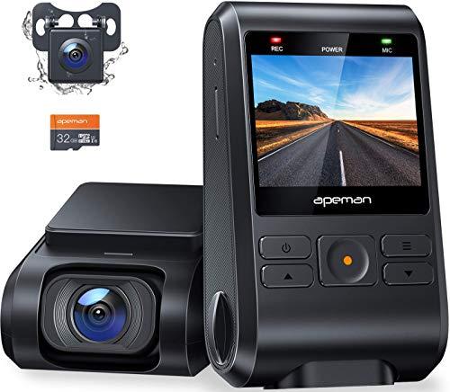 【2020進化版】 APEMAN ドライブレコーダー 前後カメラ 32Gカード付き 200万画素 IPSパネル 1080PフルHD 2...