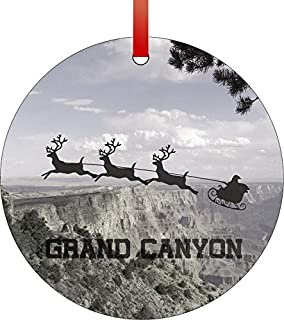Santa and Sleigh Riding Over The Grand Canyon-Arizona-USA-Round Aluminum Christmas Ornament with a Red Satin Ribbon/Holiday Hanging Tree Ornament/Double-Sided Decoration/Great Unisex Holiday Gift!