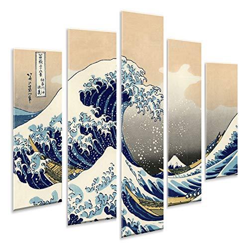 Giallobus - Pintura de Paneles múltiples 5 Piezas - Katsushika Hokusai - La Gran Ola de Kanagawa - Impresión en forex con Efecto de Relieve - Listo para Colgar - 140x100 cm