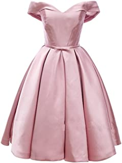 DAROJ Womens 1950s Sweetheart Neck Cap Sleeve Coctail Bridemaid Evening Dress