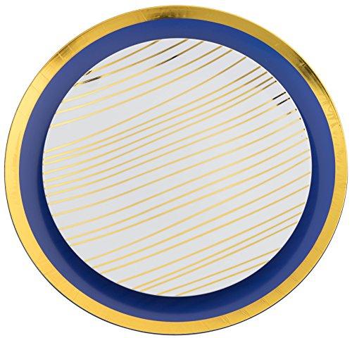Trendables 60 - Pack Combo Premium Disposable Plastic Plates, Food Grade Plastic Dinner Plates - Glam Design Includes: 20 x 10.25 Dinner Plates - 20 x 8 Salad - 20 x 24 oz. Salad/Soup Bowls