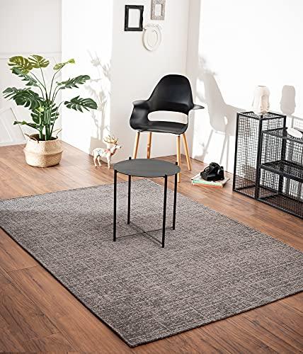 Bari - Alfombra vintage moderna con elementos clásicos, muy plana, aspecto usado, colores intensos, gris 80 x 150 cm